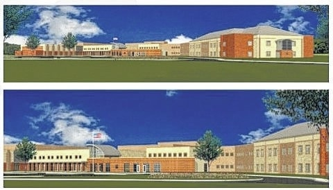 These drawings show the front exterior of Olentangy's fourth high school.