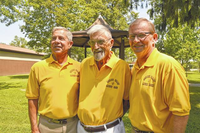 """From left, Tom Kaelber, Bill Everhart, and Kent Eastham will participate with the 30-member Buckeye Valley Alumni Band on Sunday to kick off the """"Harmony in the Park"""" concert series. The performance begins at 7 p.m. Sunday at Bicentennial Park on Washington Street."""