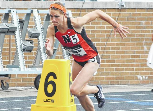 Ohio Northern University junior All-American and Delaware Hayes graduate Emily Richards advanced through the first round of the 800-meter run during opening-night action at the USA Track & Field Outdoor Championships Thursday in Sacramento, Calif.