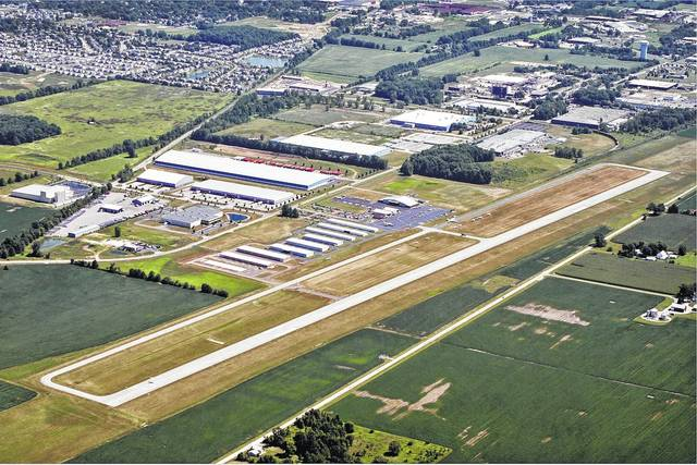 An aerial view of the Delaware Municipal Airport.