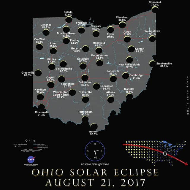 This map shows how much of the sun will be obscured at various locations in Ohio during the solar eclipse on Monday, Aug. 21. In Delaware, about 85.5 percent of the sun will be obscured by the moon passing in front of it. According to Perkins Observatory Director Tom Burns, the eclipse will begin at 1:04 p.m. locally and last until about 4 p.m.