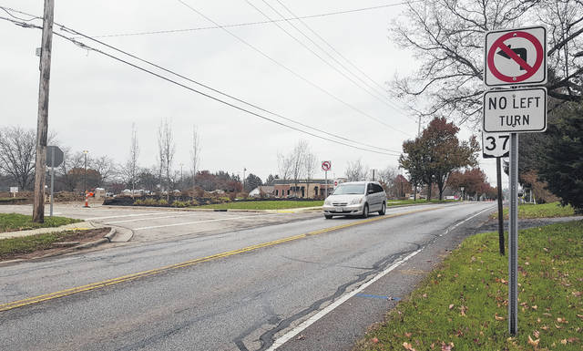 Delaware City Council is considering legislation that would create parcel TIF funds for four parcels consisting of the former Buehler's site and the three outlots fronting the property on West Central Avenue. The funds collected through the parcel TIF would be used to help with future infrastructure improvements in front of the four parcels, including an eastbound left turn lane from West Central Avenue into the properties. Pictured is one of the current entrances from West Central Avenue in which left-hand turns are prohibited.