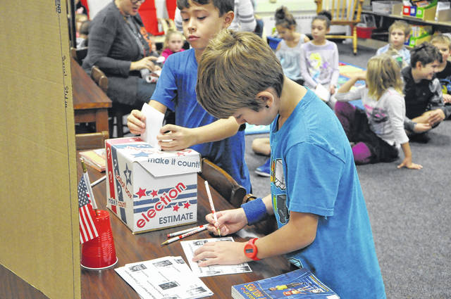 "A pair of third-grade students at Carlisle Elementary School cast their votes for their favorite book Friday morning in the school's library. The students were choosing their favorite book for the Buckeye Book Award and were given a sticker for voting. The nominees were ""Harry Potter and The Cursed Child"" by J. K. Rowling, John Tiffany and Jack Thorne; ""License to Thrill"" by Dan Gutman; ""Pax"" by Sara Pennypacker; ""Wild Robot"" by Peter Brown; and ""Some Kind of Courage"" by Dan Gemeinhart. The students in this class chose ""Pax"" as their winner. Their votes will be added to the rest of the students in Ohio to determine the award winner. Adults across Ohio will head to polling places on Tuesday to vote in the state's general election. Polling places will be open from 6:30 a.m. to 7:30 p.m. Tuesday. For information about voting in Delaware County, go to delawareboe.org."