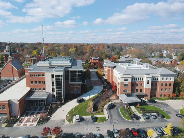 This is an aerial photo of the new Delaware County Courthouse on left and the Hayes Administration Building on right. County residents are invited to an open house at the courthouse at 3 p.m. on Sunday, Dec. 3.