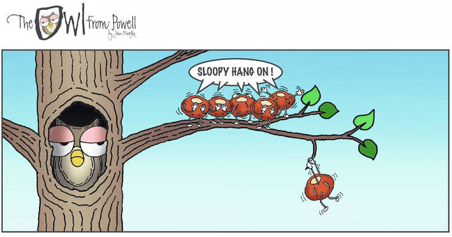 Several of John Marefka's The Owl from Powell comic strips have featured a cast of little buckeye characters. One of those buckeyes, Sloopy, appears in the comic hanging on for dear life.