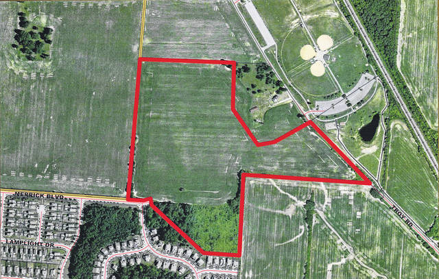 The Judith D. Hook Revocable Trust is seeking the City of Delaware's approval to rezone a 44.258-parcel, outlined in red, from R-4 and R-6 zoning districts to R-3 One-Family Residential District. The land, located near Smith Park, is expected to be marketed for development as a single-family subdivision, pending City Council's approval.