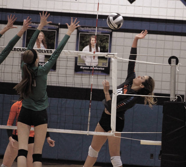 Orange's Taylor Metzler (10) hammers home a kill during the first set of Thursday's Division I regional semifinal against Dublin Coffman. The game was played at Worthington Kilbourne High School.