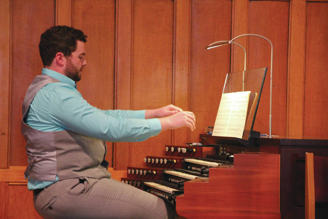 Guest organist Alex Armstrong wraps up the last of the four pieces he played during the First Thursday Noontime Recital Series at Asbury United Methodist Church. Armstrong began studying organ music under the direction of Sally Casto at the Asbury Organ Academy. He continued his studies at Ohio Wesleyan University under the tutelage of professors Robert Griffith and Jason Keefer. Armstrong is now a graduate student at the University of Oklahoma. He currently serves as the student cantor at University Lutheran Church in Norman, Okla. Sally Casto, organizer of the recital series, said the next installment is scheduled for Feb. 1 with Joshua Brodbeck performing. He is the minister of music at Holy Trinity Lutheran Church in Columbus and director of the Delaware Community Chorus.