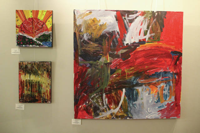 "Fresh Start Cafe & Bakery is hosting the art show Lori and Friends through March 9. The show features the works of local artists Lori Roof, abstract painter; Derrick Williams, fiber artist; Jess Hodge, painter; and Bryan Burks, mixed media. Pieces shown are ""Beautiful Sunrise,"" top left, by Hodge; ""The Cave,"" bottom left, by Roof; and ""Waterworks"" by Roof. Fresh Start is located at 24 N. Sandusky St. in downtown Delaware. The show is offered in partnership with Creative Foundations. For information, go to www.freshstartcafeandbakery.com or visit the Facebook page."