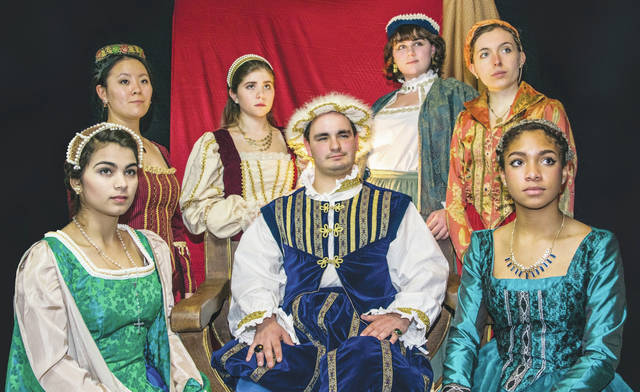 """Ohio Wesleyan University's Department of Theatre & Dance will present four performances of """"Royal Gambit"""" from Feb. 15-18. Here, King Henry VIII, portrayed by OWU student Daniel Haygood, is surrounded by his six wives, portrayed by OWU students Rose Jonesco, clockwise from bottom left, Doris Ottman, Anna McReynolds, Emma Antal, Kacie Iuvara, and Nyjah Cephas."""