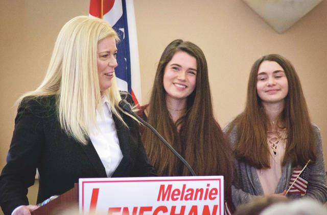 Liberty Township Trustee Melanie Leneghan announced her candidacy for Ohio's 12th District seat in the U.S. House of Representatives Saturday afternoon to a crowd of over 70 constituents at the Concord Township Hall. Leneghan was joined by her two daughters, Tara and Grace, as she made the announcement.