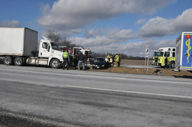 A car and a tractor trailer were involved in a collision around 2:45 p.m. on Tuesday at the junction of US 36/State Route 37 and Big Run Road. According to a Delaware County sheriff's deputy, the car apparently failed to yield when pulling out of Big Run and was struck by the semi. The driver of the car, an unidentified woman, suffered non-incapacitating injuries and was transported to OhioHealth Grady Memorial Hospital by Delaware County EMS. Her condition was not available at press time. The man driving the truck, owned by CVS Pharmacy, was not injured. US36/SR37 was not closed following the crash. Also on the scene were the BST&G Fire District and the Ohio State Highway Patrol.