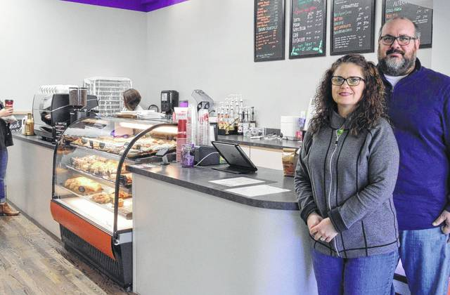 Leigh and Todd Daughenbaugh pose inside their business, Fresh Start Cafe and Bakery, in this file photo taken in late 2016 for a feature story that appeared in The Gazette. The inaugural Fresh Start Baking Championship, which is set to take place in February in the downtown Delaware business, is the brainchild of Mr. Daughenbaugh.