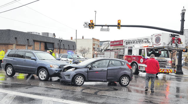 Traffic in downtown Delaware was tied up for several minutes around 3 p.m. on Wednesday following a two-vehicle crash at the intersection of Sandusky Street and Central Avenue. The crash, which resulted in no injuries to the occupants of either vehicle, involved a Toyota Highlander, left, and and Ford Fiesta.