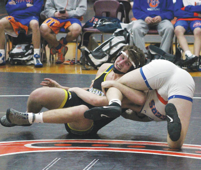 Olentangy's Colton Doup, left, competes against Orange's Tristan Bluntschly during Wednesday's Division I Regional Wrestling Dual Team Tournament at Delaware Hayes.