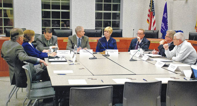 Delaware City Council met in a joint session Thursday with the Delaware County Commissioners. Pictured, left to right, with his back the camera is Commissioner Jeff Benton, Commissioner Barb Lewis, County Administrator Michael Frommer, Commissioner Gary Merrell, Mayor Carolyn Kay Riggle, City Manager Tom Homan, Vice Mayor Kent Shafer and City Councilman George Hellinger.