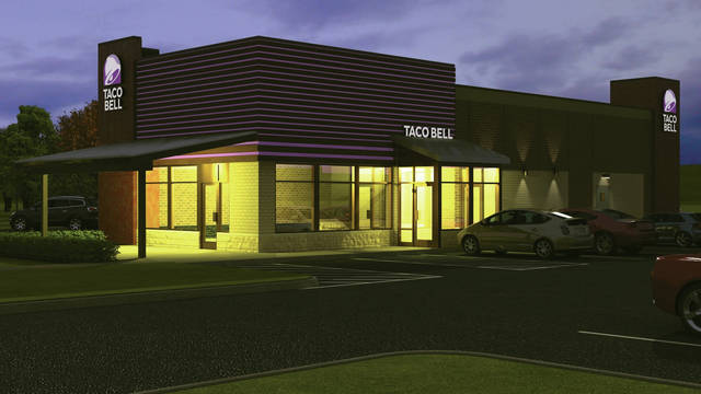 A perspective drawing of the new Taco Bell.
