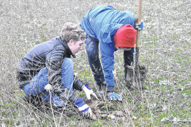 Lizzy Childers and Colin Ferguson plant a seedling Tuesday morning at the wetlands. The students were two of nearly a dozen Hayes students who volunteered for the event.