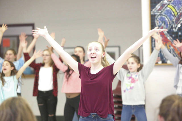 """Pictured during a recent rehearsal for """"Dear Edwina JR."""" is Dempsey Middle School student Audrey Young, who will portray Edwina, the title character, during three upcoming performances of the musical."""