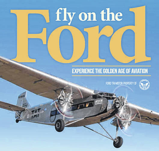 The Ford Tri-Motor that will be landing in Delaware in August is pictured on an event flyer.