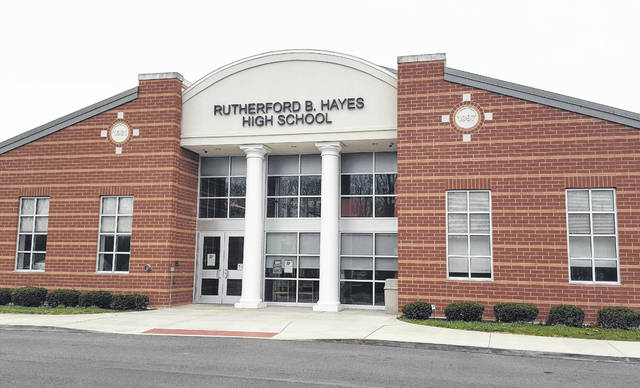 Pictured is the Euclid Avenue entrance at Rutherford B. Hayes High School in Delaware. Through donations from several Delaware businesses and individuals, Hayes seniors in need of a cap and gown won't go without when graduation takes place on May 26.