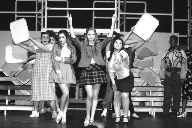 "Students at Olentangy Orange High School are pictured rehearsing for their upcoming production of ""Heathers."""