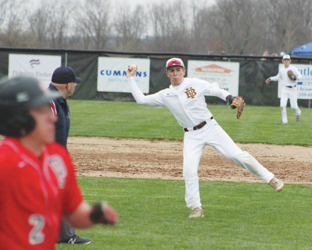 Buckeye Valley shortstop Andy Eurez fires to first base during Wednesday's MOAC showdown against visiting Pleasant.
