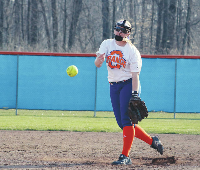 Olentangy Orange's Brenna Oliver fires a pitch toward home plate during Wednesday's OCC showdown against visiting Olentangy Liberty.
