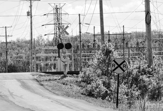 Pictured is the railroad track and AEP substation located on Slack Road, just west of the Liberty Road/Slack Road intersection. The City of Delaware Planning Commission recently voted in favor of recommending to City Council approval of a preliminary and final development plan for a 50,000-square-foot AEP service center to be built just west of the substation and railroad track on Slack Road.