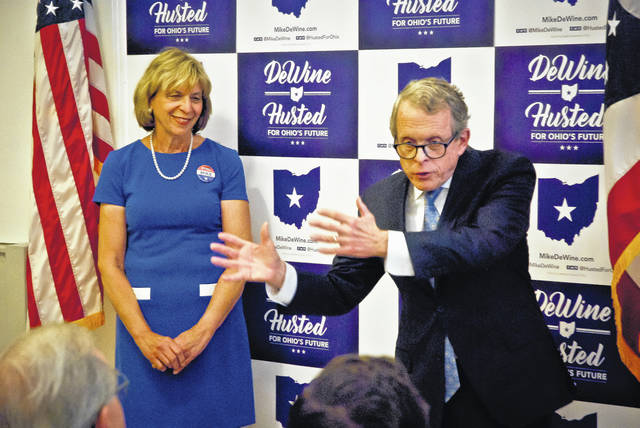 Gubernatorial candidate Mike DeWine (R) and his wife, Fran, stopped at the Delaware Republican Party Headquarters Monday for the Rock Solid Conservative Tour. DeWine thanked local GOPs for their efforts as he seeks the Republican nomination for Ohio governor.