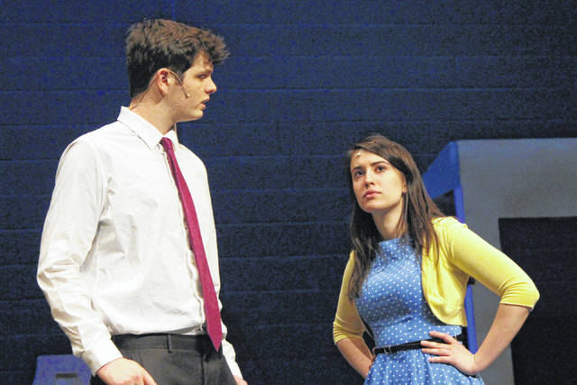 """Pictured rehearsing for Olentangy Liberty High School's upcoming production of """"State Fair"""" are senior Conel Orem, left, as Pat Gilbert; and senior Jessica Greenwald, right, as Margy Frake."""