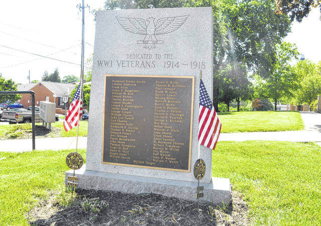 Pictured is the World War I memorial located in front of the old Delaware County Courthouse on North Sandusky Street. The memorial contains the names of the 53 Delawareans killed in action during WWI.
