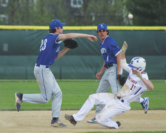 Liberty's Craig Lutwen (23) fires to first as Olentangy's Logan Ketron looks to break up the double play during Friday's OCC showdown in Lewis Center.