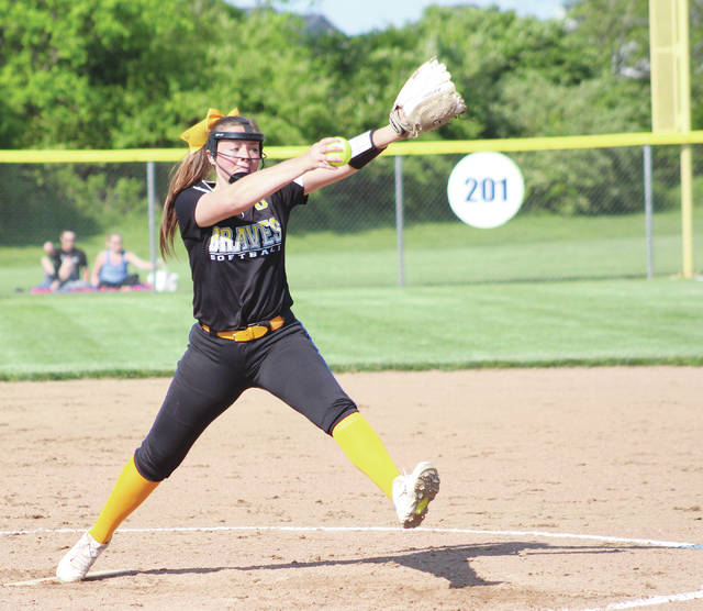 Olentangy's Sophie Low fires a pitch toward home plate during Monday's Division I district semifinal against Hilliard Bradley in Lewis Center.