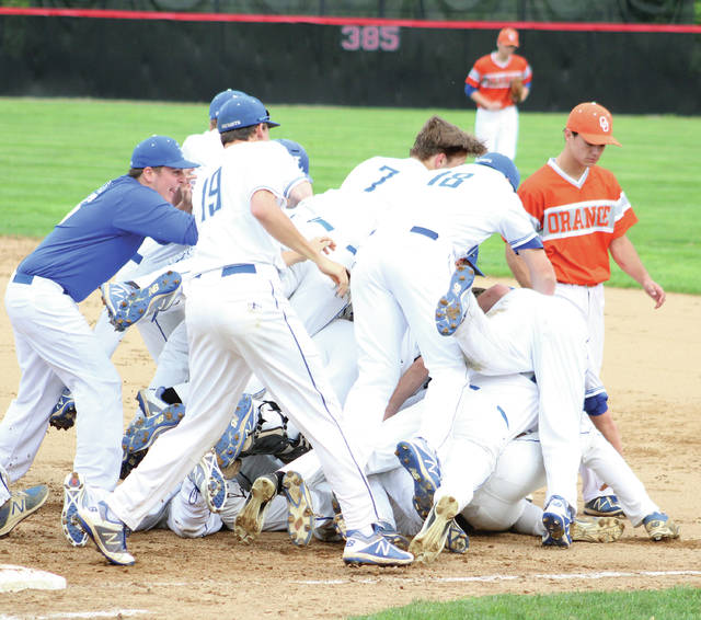 Liberty players celebrate as Orange players walk off the field following Wednesday's Division I district semifinal at Ohio Wesleyan's Littick Field. The Patriots won 2-1 in walk-off fashion.