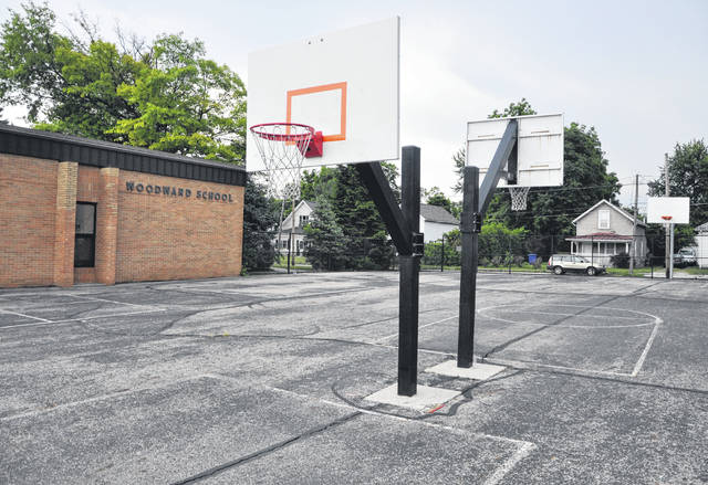 Pictured are several of the basketball courts at Woodward Elementary School in Delaware.
