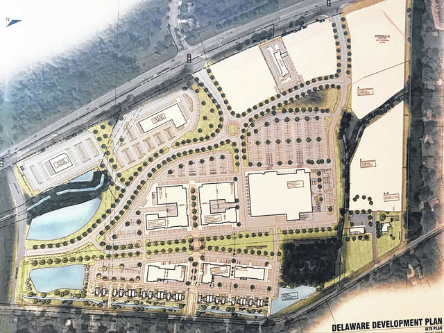 Pictured is a rendering of what the future Coughlin's Crossing development in might look like. The rendering was unveiled on Wednesday during a meeting held at The Barn at Stratford. Pictured north of the site is U.S. Route 23, while Stratford Road is shown south of the development.