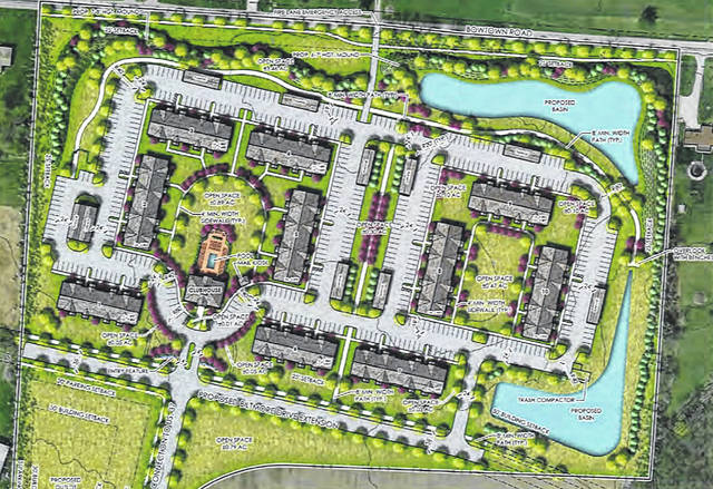 Pictured is the illustrative plan for the Seattle House Apartments proposed for the east side of Delaware. Bowtown Road is pictured to the north, with a connector to U.S. Route 36/state Route 37 shown to the south.
