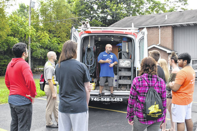 Trevor Thomas, director of Emergency Plumbing Service in Delaware, speaks to Buckeye Valley and Delaware Area Career Center students Friday morning. Thomas talked to students about alternatives to four-year degrees, and he encouraged the students to consider careers that do on-the-job training to build a skill set.