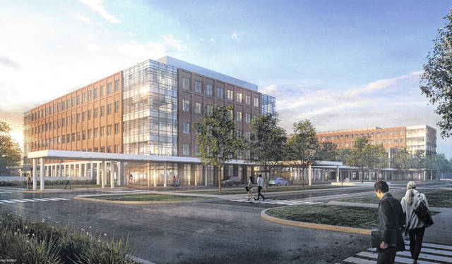 b2c9641af84 Pictured is a rendering of The Ohio State University Wexner Medical Center's  proposed ambulatory care facility that would be located on Sawmill Parkway,  ...
