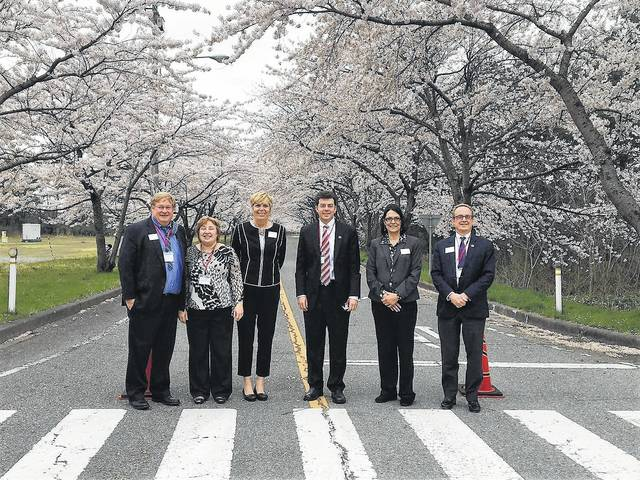 Members of the Delaware delegation to Sakata city in Yamagata, Japan, were Mayor Carolyn Kay Riggle, City Manager Tom Homan, Delaware City Schools teacher Joanne Meyer and Jeffrey Sprague of Next Transport, which has a plant to the city's industrial park, and Ohio Wesleyan University Provost Chuck Stinemetz accompanied by his wife.