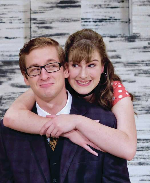 "Maxwell Bartel (as Vernon Gersch) and Leah Windahl (as Sonia Walsk) in the Otterbein Summer Theatre production of ""They're Playing Our Song."""