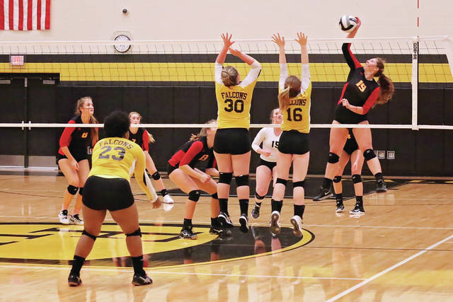 Haley Griffith (Senior) with one of her 7 kills vs. Franklin Heights in Girls Volleyball action.