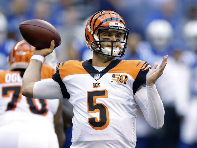 FILE  - In this Thursday, Aug. 31, 2017 file photo, Cincinnati Bengals quarterback A.J. McCarron throws during the first half of an NFL preseason football game against the Indianapolis Colts in Indianapolis.  A proposed trade between the Browns and Bengals involving quarterback A.J. McCarron fell through when paperwork was not filed to the NFL before the 4 p.m. deadline, Tuesday, Oct. 31, 2017. (AP Photo/Michael Conroy, File)
