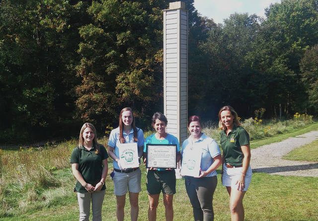 Presenting the WILD School Sites award (L to R) - Meredith Gilbert, ODNR Division of Wildlife; Emily Smith, OBS; Gail Laux, OBS; Julie Swartz, OBS; Jamey Emmert, ODNR Division of Wildlife.