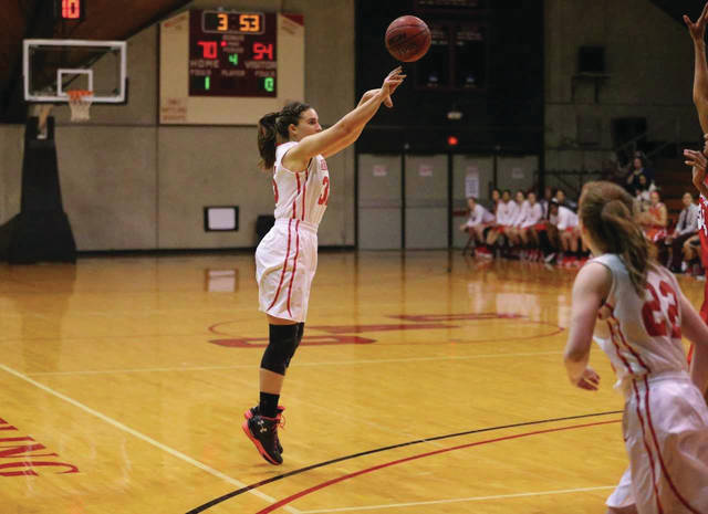 The Ohio Wesleyan women's basketball team will hold its 11th annual Hoops for Hope Tournament Dec. 29-30 to support breast cancer awareness. Shown here is sophomore post Elea Karras.