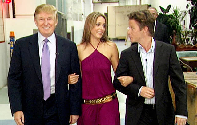 Left-to-right: Donald J. Trump, Arianne Zucker, Billy Bush.