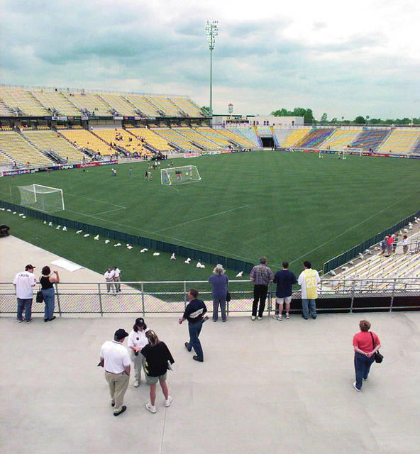 FILE - In this May 15, 1999, file photo, the stadium built for the Columbus Crew soccer team is shown in Columbus, Ohio. The owner of the Crew SC says the team will move to Austin, Texas, unless a new stadium is built in Columbus. Precourt Sports Ventures, owner of the Major League Soccer club since 2013, said it is exploring strategic options to ensure the long-term viability of the club. (AP Photo/Chris Putman, File)