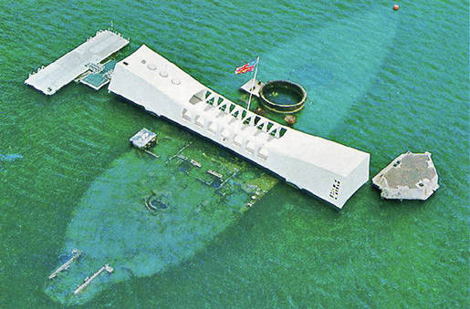 An aerial view of the USS Arizona Memorial in Pearl Harbor, Hawaii. Oil still seeps out of its wreckage after being bombed by the Japanese on Dec. 7, 1941.