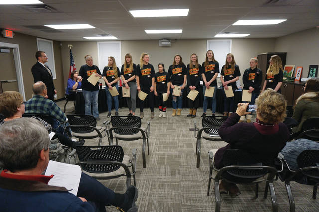 The Big Walnut High School Girls Volleyball team is recognized for their state runner-up season at the Board of Education meeting in Sunbury on Jan. 18.